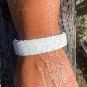 cowhide leather bracelet. southwestern boho chic